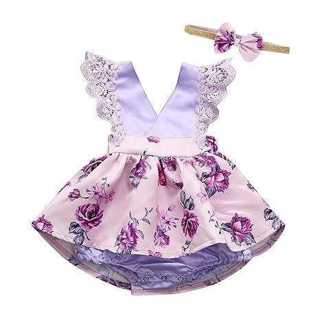 Feixiang Bebé niña Ropa de bebé Vestido de Princesa Vestido de Princesa sin Mangas Vestido de