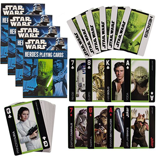 Star Wars 4 Pack Decks Themed Playing Cards Heroes Set By Cartamundi Collector Pack Disney Themed Christmas Cards