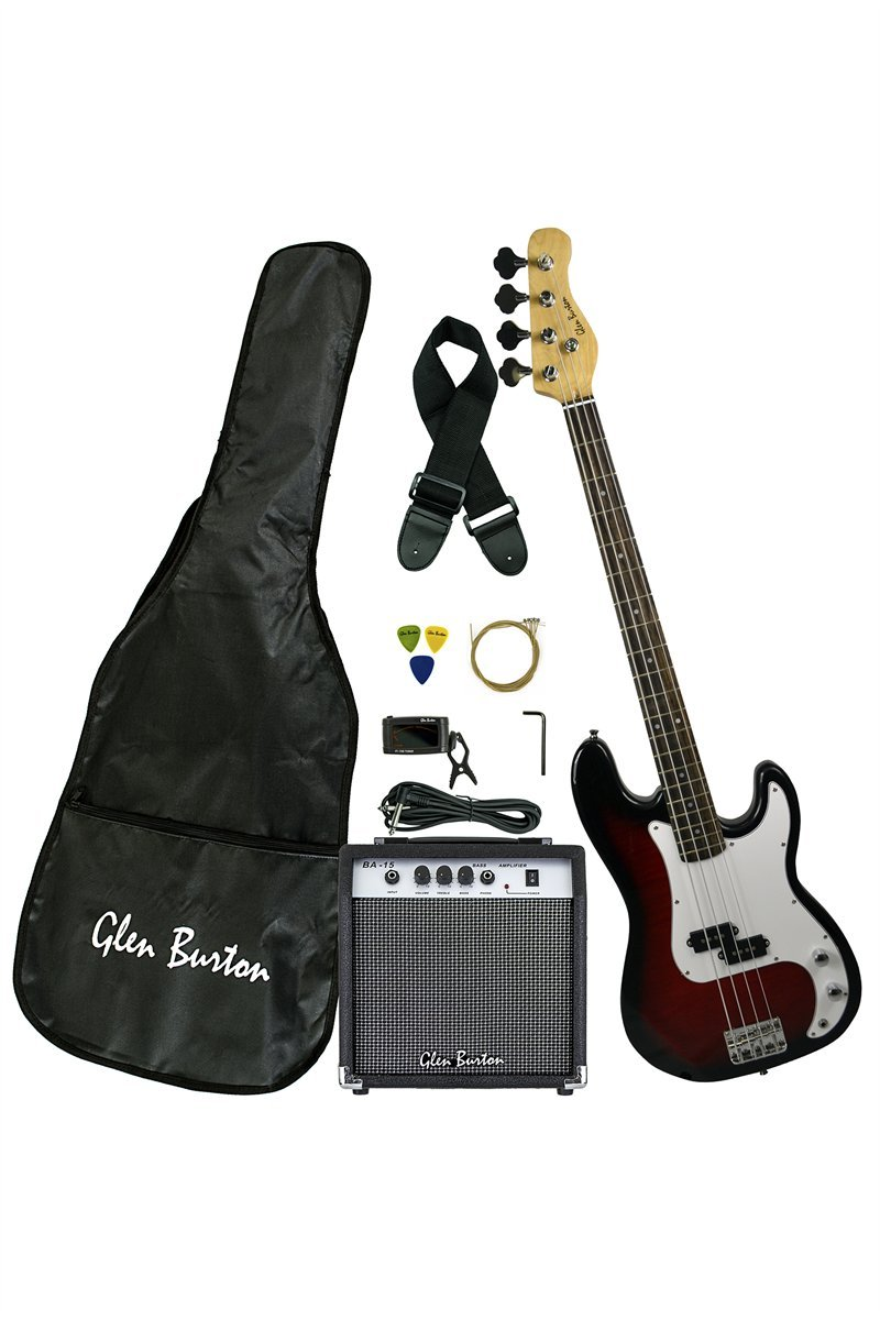 Premium Solid Body Black Electric Bass (Base) Guitar Combo with Free Lessons, 15 Watt Bass Amplifier, Extra Strings, Digital Tuner, Gig Bag, Guitar Strap, & DirectlyCheap(TM) Blue Medium Pick Directly Cheap 000-BT-GB150BCO-BK+Lessons