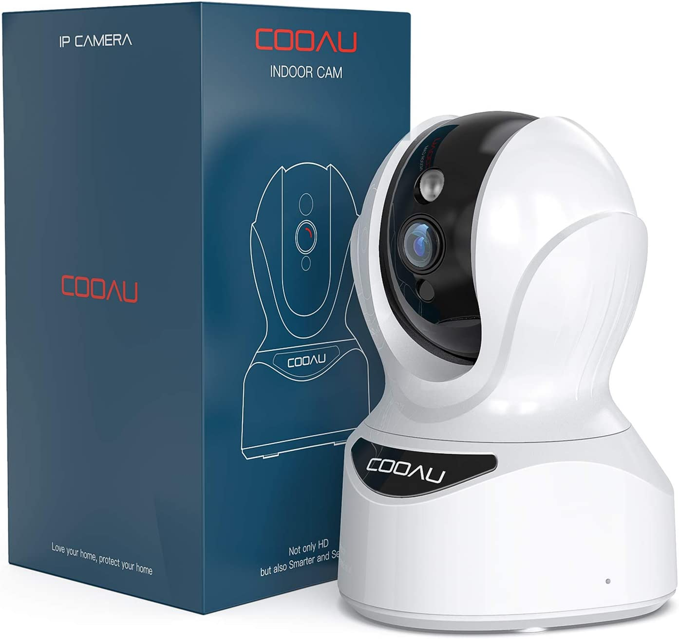 Security Camera Indoor, COOAU 1080P Wireless Pet Camera, WiFi Home IP Camera for Dog/Nanny/Elder/Baby, with Sound Detection, Motion Tracking, Two-Way Audio, Works with Alexa, Cloud/SD Storage