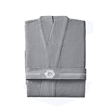 GX Albornoz de Tejido Suave de Color Liso,Batas de baño súper absorbentes Batas para Damas y Caballeros,Gray,M: Amazon.es: Hogar