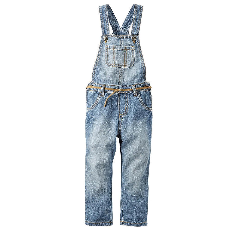 Carter's Girls' Blue Denim Front Pocket Overall, 4 Kid