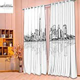 Linen Curtains new york city outline sketch with refection hand drawn vector artwork Print Window Curtain Drapes Set for Living Room(W52 x L84 Pair) For Sale
