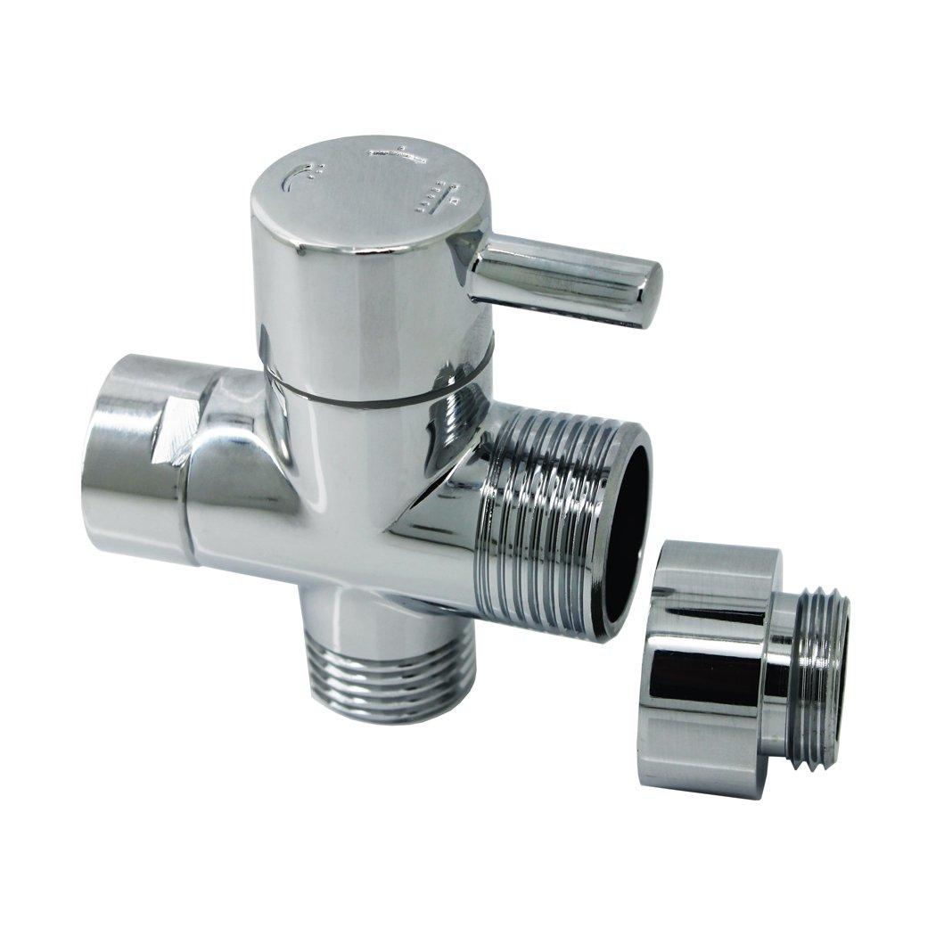 Ducha de Lató n vá lvula de ducha desviador phoewon adaptador interruptor de ducha cromado, ducha de 3 Ví as divisor para bañ o, cocina ducha de 3Vías divisor para baño Eriva