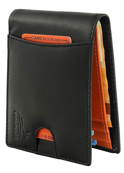 7632ed824b Volmer ® Portafoglio a libro da uomo senza clip fermasoldi porta carte di  credito