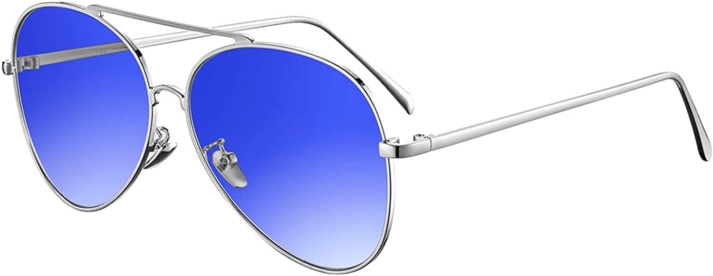 rezi Gafas de Sol Polarizadas Gafas de sol Hombre Mujeres, Gafas de Sol Aviador UV400 Lentes de PC y Montura de Acero Inoxidable con Almohadillas de Nariz Ajustables, Accesorios Moda