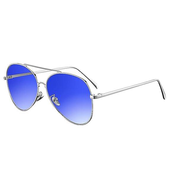 rezi Gafas de Sol Polarizadas Gafas de sol Hombre Mujeres, Gafas de Sol Aviador UV400 Lentes de PC y Montura de Acero Inoxidable con Almohadillas de ...