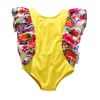 c218368f48 Amazon.com: Clothful 💓 Toddler Baby Kids Girls Ruffles Ruched Floral Beach Swimwear  Swimsuit Romper: Clothing