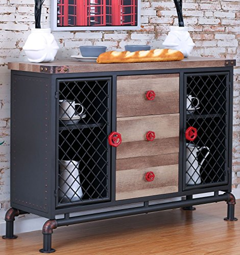 Dining Room Metal Sideboard - Furniture of America CM3365SV Brixton I Antique Black Server Dining Room Buffet