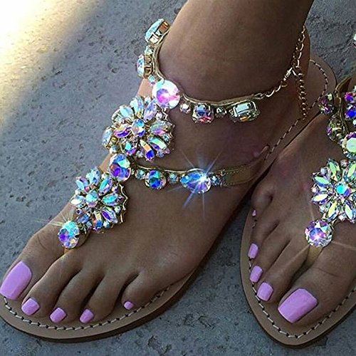 a65c81e9c azmodo Women s PU Rhinestones Chains Flat Gladiator Sandals Apricot 1625  (Plus Size Available)