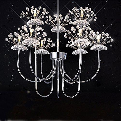 Cozyfoci Modern LED K9 Crystal Dandelion Pendant Chandelier Lamp Lighting Chrome Fixture CS-010CE-YMJ