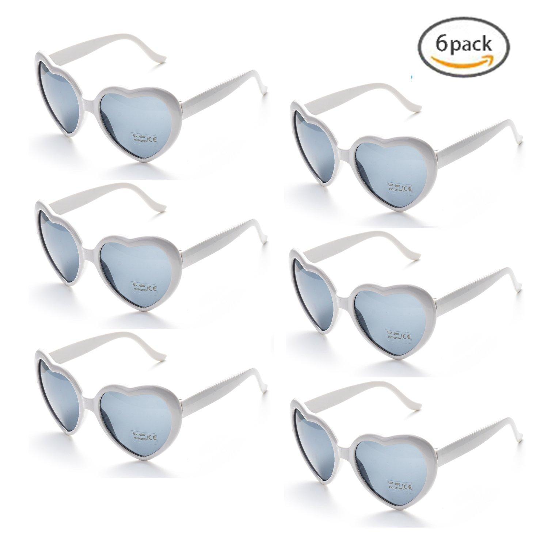 Onnea fashion 6 Neon Colors Heart Shape Party Favors Sunglasses, Multi Packs (6-Pack White)