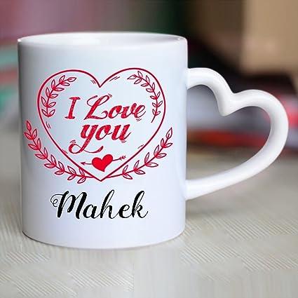 Huppme I Love You Mahek Heart Handle Mug