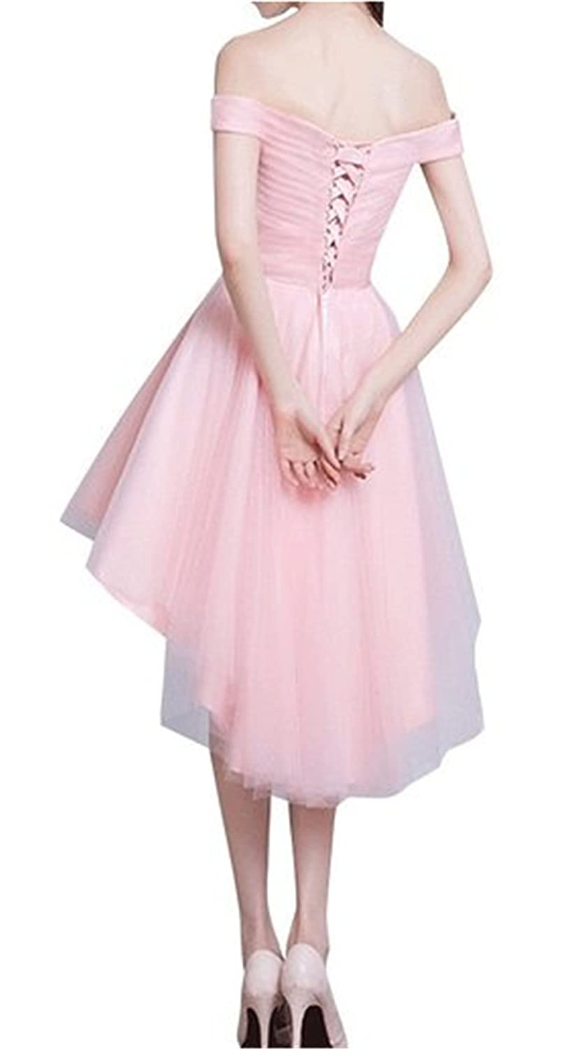 HelloGirls Women Tulle Hi/Lo Cap sleeve Party Prom Evening Dresses