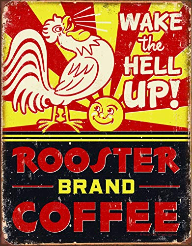 Desperate Enterprises Rooster Brand Coffee Tin Sign, 12.5