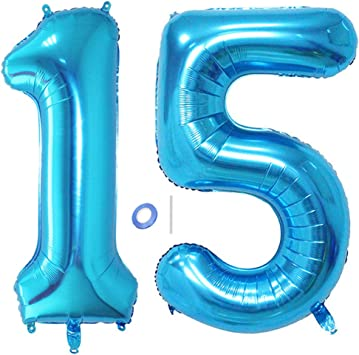 Huture 2 Globos Número 15 Figuras Globo Inflable de Helio Globos Grandes de Aluminio Mylar Globos Azul Gigantes Número Globos 40 Pulgadas para Fiesta de Cumpleaños decoración graduación XXL 100cm
