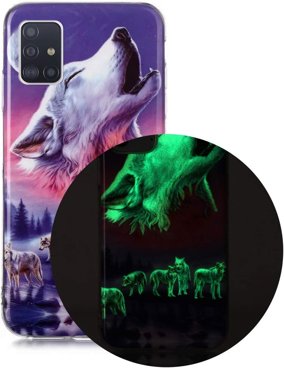 Phone Case for Samsung Galaxy A51 Luminous Effect Back Cover Noctilucent Soft Slim TPU Gel Bumper Silicone Rubber Case for Samsung Galaxy A51 Wolf:C