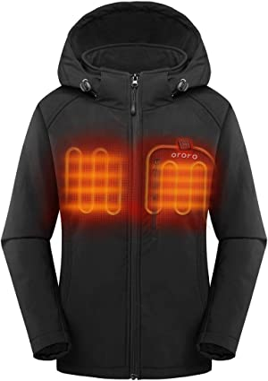ORORO 2021 Women's Slim Fit Heated Jacket with Battery Pack and Detachable Hood