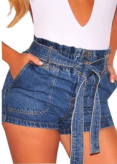 f2ddf8936bb348 Aleumdr Femme Short Jeans Chic Denim Patchwork Déchiré Trou Stretch ...