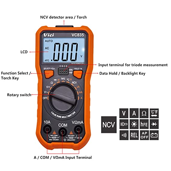 VC835 Multimeter NVC Three Semi-automatic Pocket Pocket Multimeter CE: Amazon.es: Bricolaje y herramientas