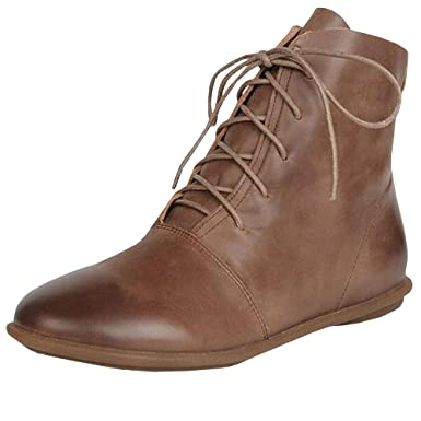 20071d3175616 Womens Lace-up Ankle Boots Low Heel Pointed Toe Soft Faux Leather Vintage  Flat Booties