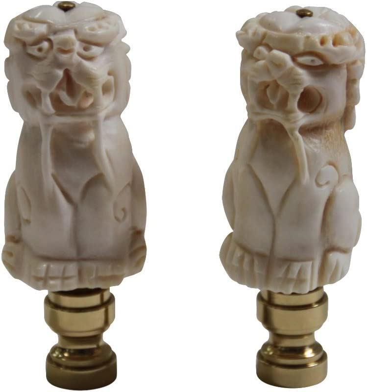 Foo Dog Lamp Finial Carved Bone Set Of 2 Amazon Co Uk Lighting