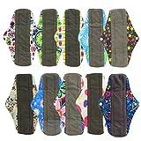 OHBABYKA Women Charcoal Bamboo Reusable Sanitary Pads/Cloth Menstrual Pads, Size L (Mix Prints-10pcs)