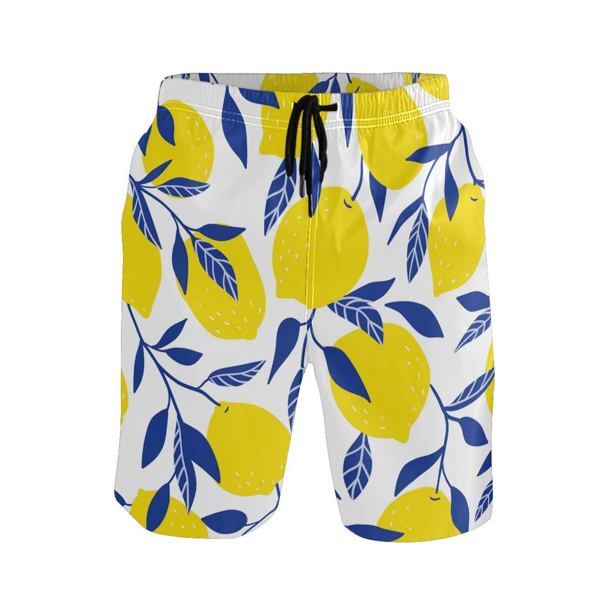CENHOME Mens Swim Trunks Yellow Lemon Blue Leaves Pattern Beach Board Shorts