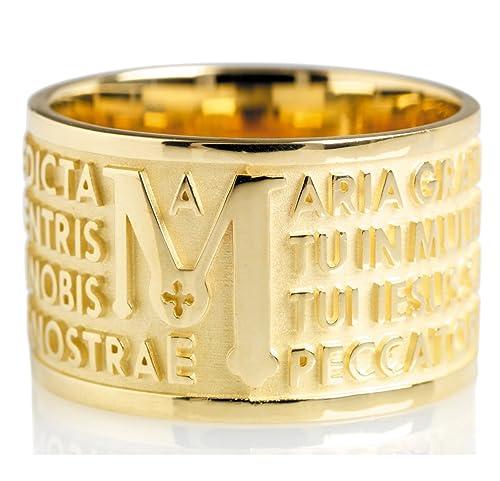 prezzo minimo autentico acquista autentico Anello Tuum Tuam in Oro giallo 18kt con Ave Maria in latino ...