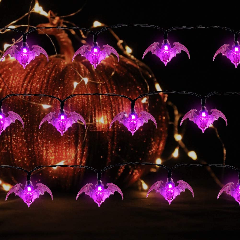 Twinkle Star Halloween String Lights Battery Powered with 8 Lighting Mode Waterproof Spooky Light for Party Patio Indoor /& Outdoor Use 19.2ft 40LEDs Purple Bat Halloween Decorative Light