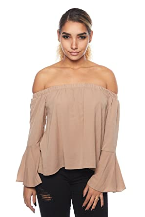 fe940c8805c42c Womens Off Shoulder Bohomeian Bell Sleeves Loose Blouse Top 33146 at ...