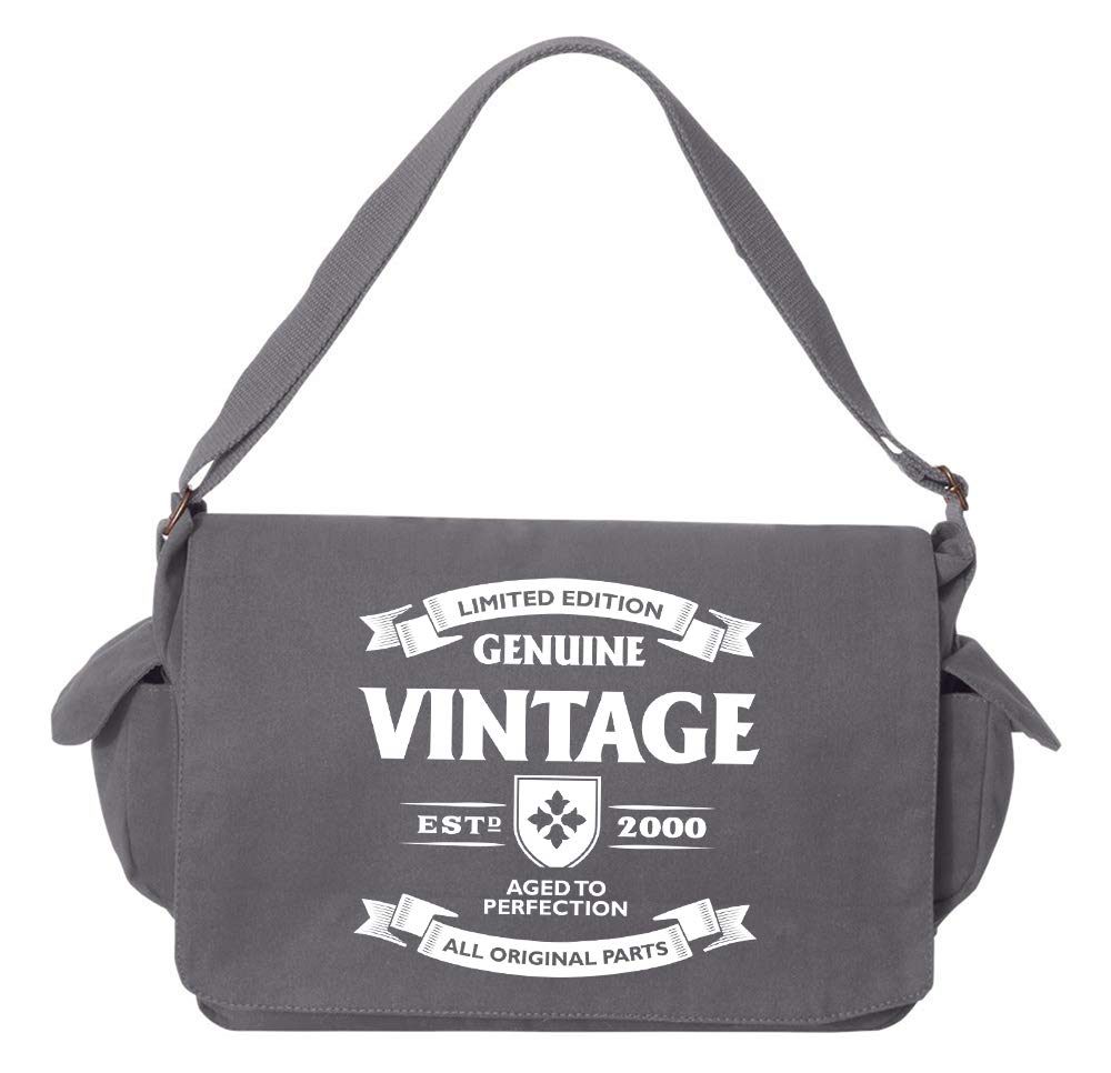 Tenacitee Aged to Perfection 2000 Grey Brushed Canvas Messenger Bag