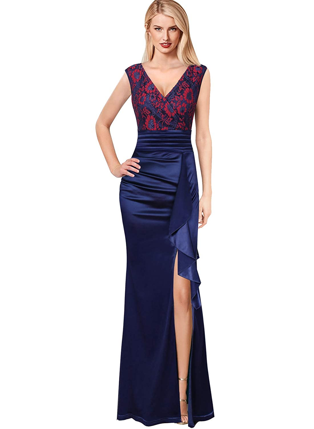 bluee+red Floral Lace VFSHOW Womens V Neck Ruched Ruffles Formal Evening Wedding Party Maxi Dress