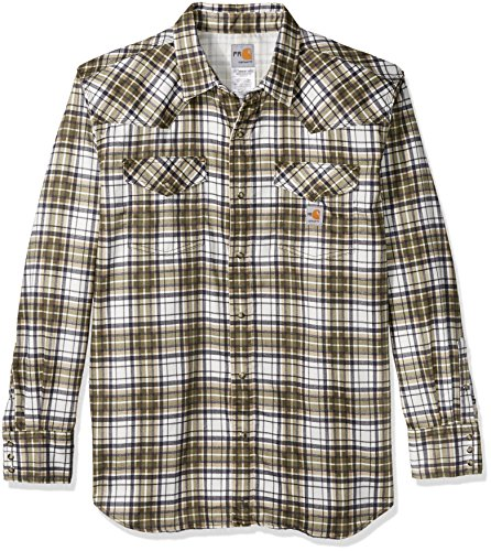 Carhartt Men's Flame Resistant Snap Front Plaid Shirt, Moss, X-Large