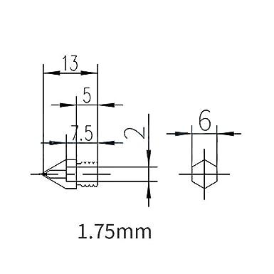 10 Piezas Extrusor de Impresora 3D Boquilla MK8 0,2 mm 0,3 mm 0,4 ...