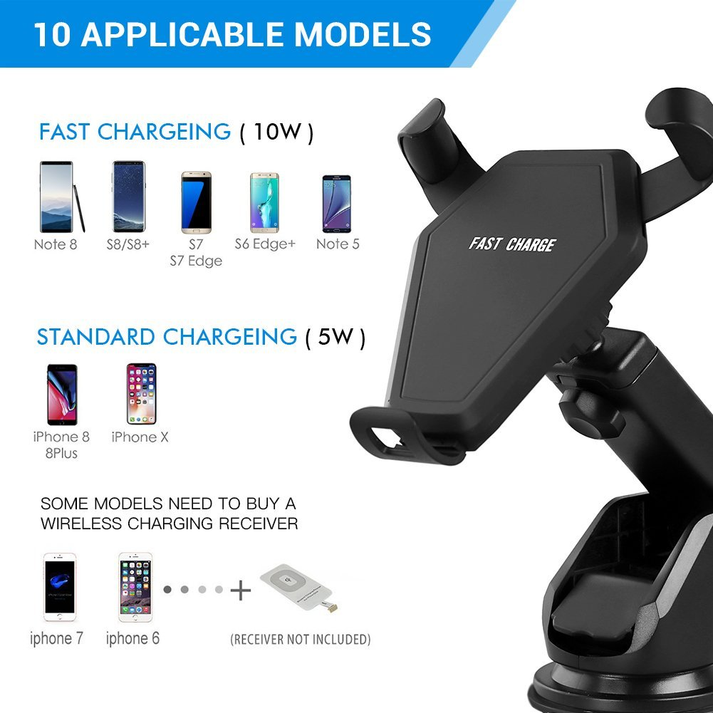 Wireless Charger Galaxy S6//S6 Edge//Plus and iPhone X,iPhone 8//Plus Jaymax 4351541443 Popwinds QI Wireless Charging 2-in-1 Car Mount for Samsung Note 5,Galaxy S7//S7 Edge//Plus