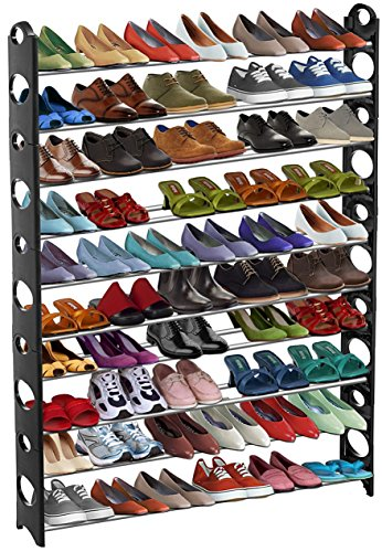 GPCT Stackable 50 Pair Shoe Rack (Up to 10 Stack-able Shelves, Adjustable for Different Shoe Sizes, Free Up Closet or Floor Space)