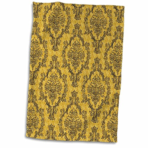 "3D Rose Pretty Vintage Mustard Yellow and Black Damask Pattern TWL_210766_1 Towel, 15"" x 22"", Multicolor"