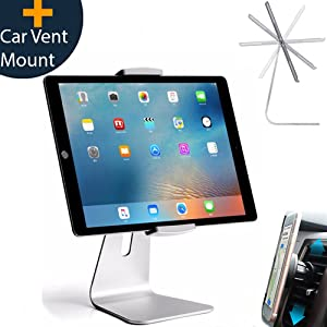 Elegant Adjustable Aluminum Tablet Holder Stand, 360° Rotatable, Desktop Stand for 6-12.9 inch iPad Pro Air Mini Galaxy Tab Nexus, Tablet Mount for Store Showcase Kitchen Countertop Office Reception