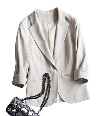 Amazon.com: wawaya Mujer Slim algodón de lino 3/4 Manga Moda ...