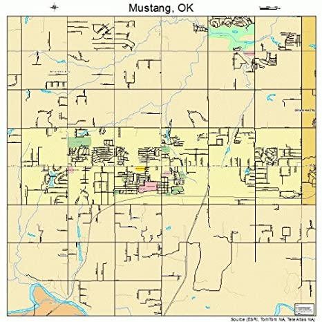 Amazon Com Large Street Road Map Of Mustang Oklahoma Ok