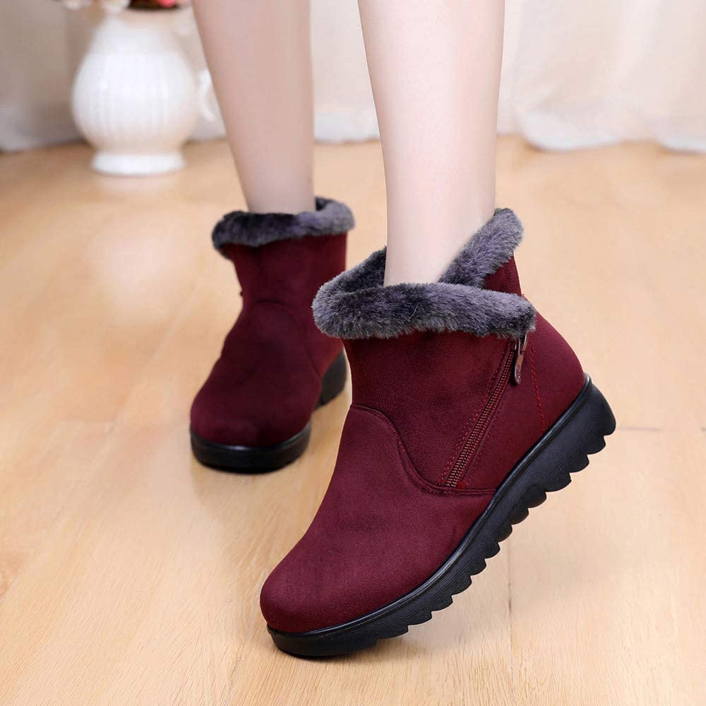 HTDBKDBK Women Boots Winter Ladies Winter Fashion Ankle Short Plus Velvet to Keep Warm Snow Footwear Shoes