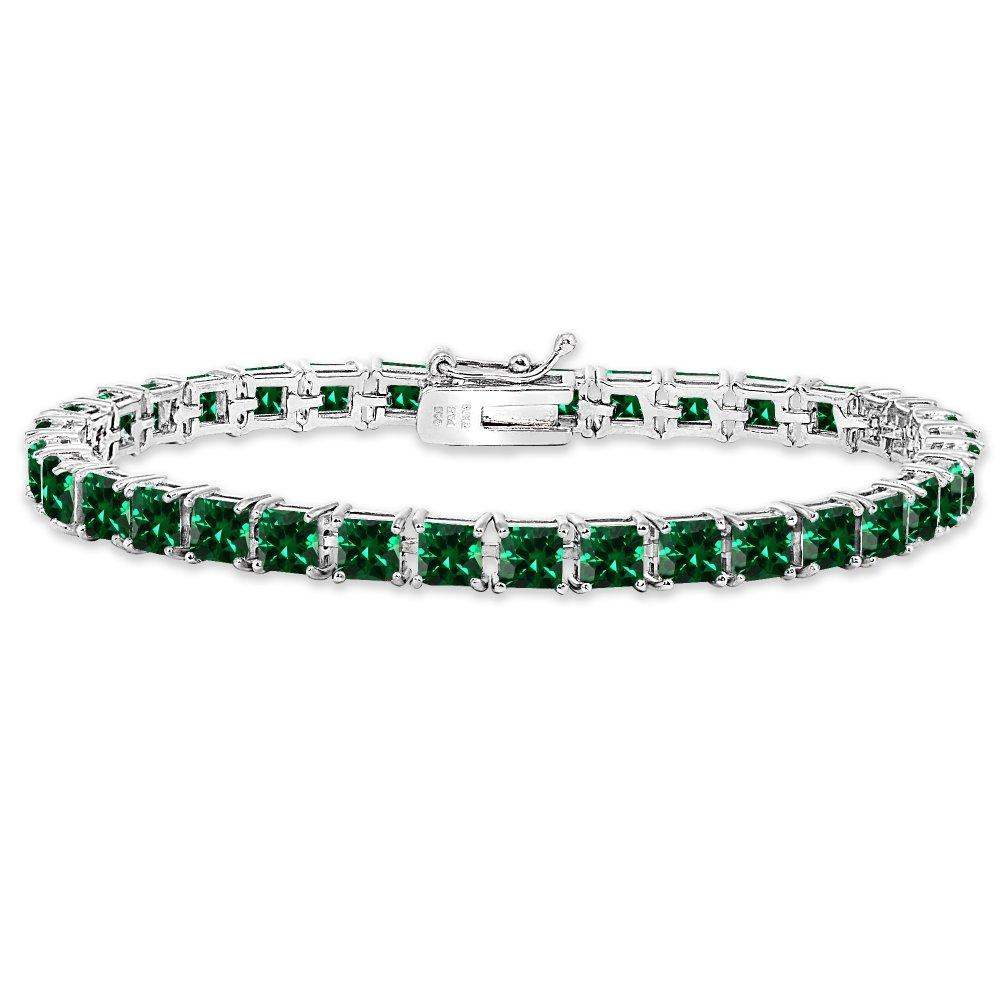 Sterling Silver Simulated Emerald 4mm Princess-Cut Square Classic Tennis Bracelet