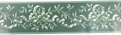 10 cm x 10 m Mesoar selbstklebende Vintage-Rattan-Tapetenbord/üre mit gr/ünem Blumenmuster