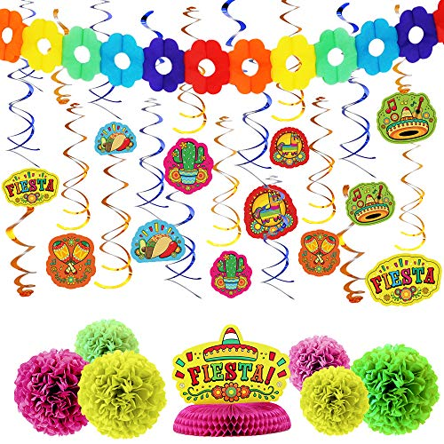 28 PCs Cinco De Mayo Fiesta Hanging Swirls Mega Pack with Swirls and Strings, Honeycomb Table Centerpiece, Tissue Pom Paper Flowers & Backdrop Banner for Cinco De Mayo Party Decoration, -