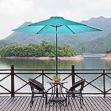NATUREFUN Outdoor Patio Umbrella 9-Feet Market Table Umbrella with Push Button Tilt and Crank Turquoise