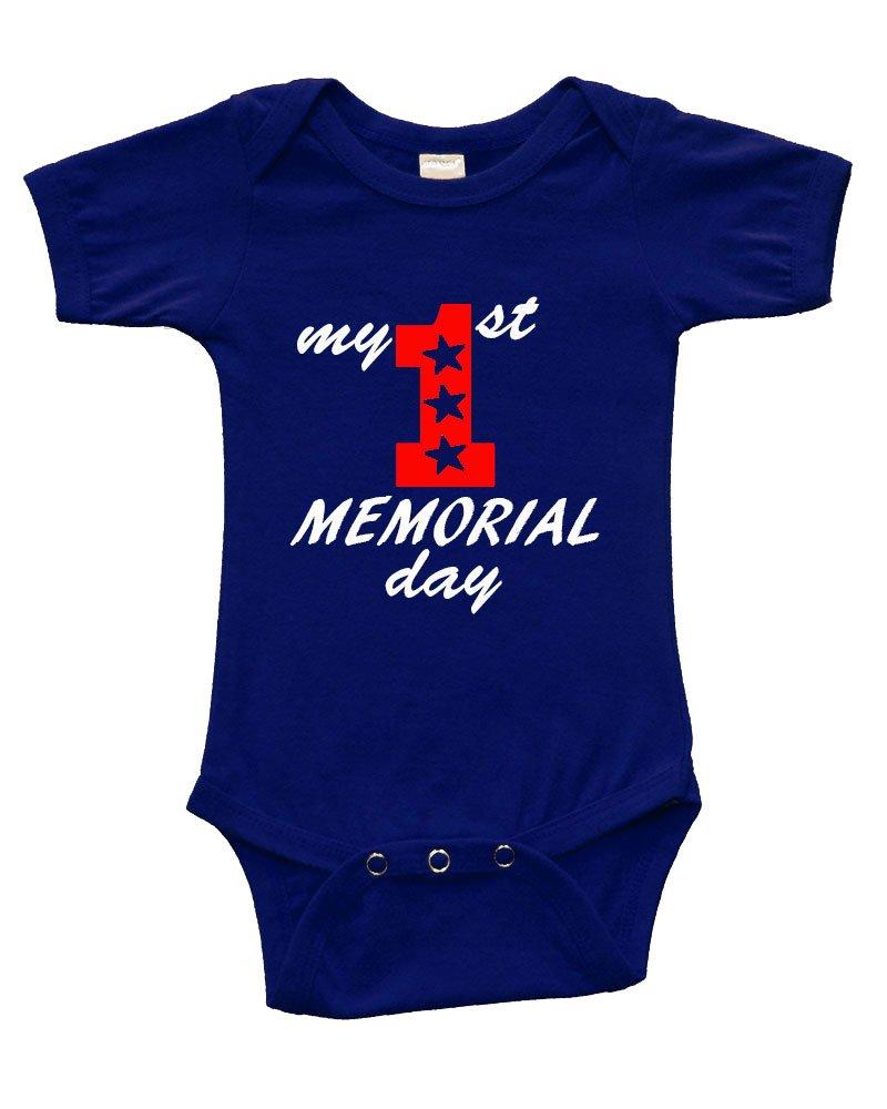 Short Sleeve Onesie w/my 1st memorial Day, Navy Blue, 6-12m