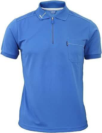 BCPOLO Men's Zip Polo Shirt Short Sleeve Dri Fit Athletic Polo Shirt-Blue XXL
