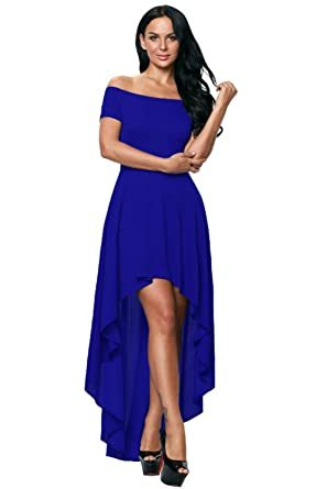 ee8129342df Women Sexy Off Shoulder Strapless Short Sleeves High Low Maxi Dress  Asymmetrical Hem Party Cocktail Dress Slim Fit Bodice at Amazon Women s  Clothing store