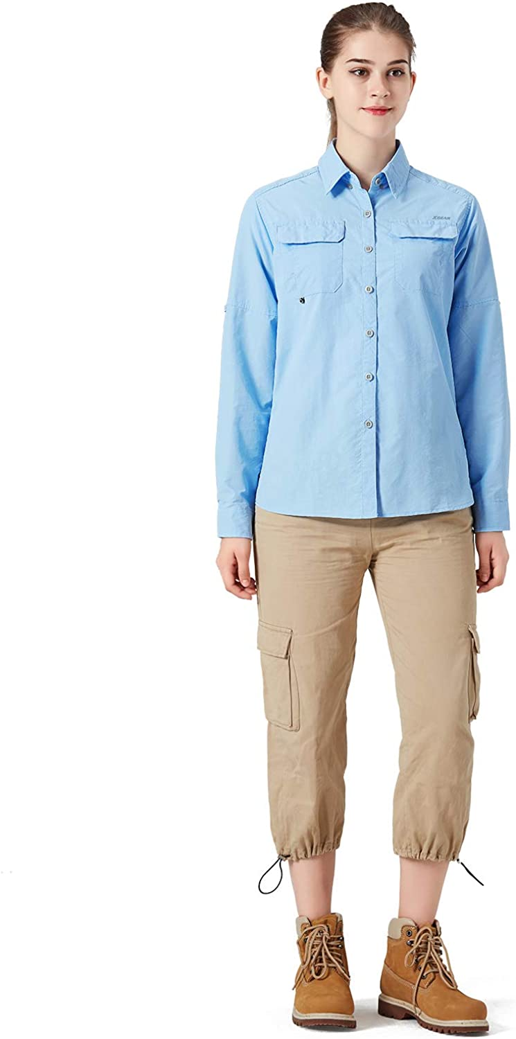 XGEAR Womens UPF 50 Hiking Shirts Long Sleeve Outdoor Shirts for Camping Fishing Sailing
